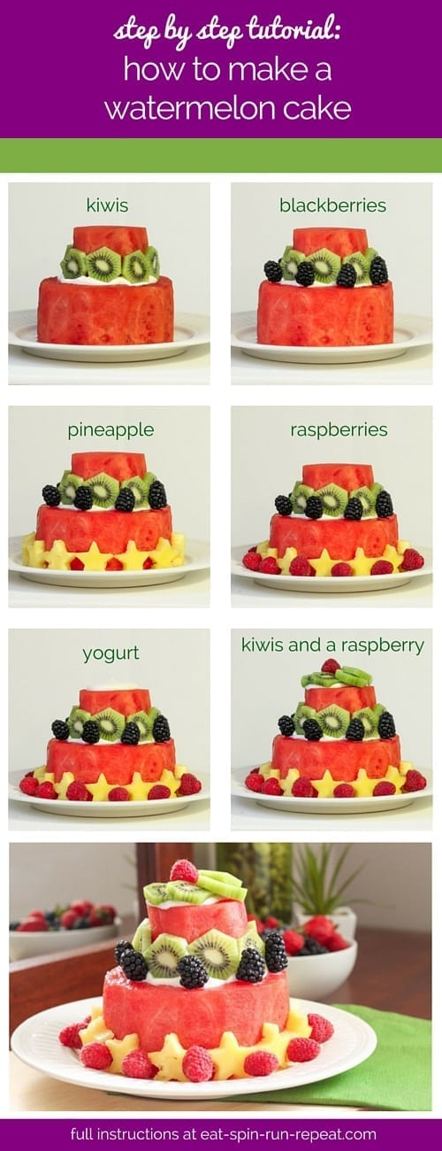 A DIY tutorial for making a watermelon cake.