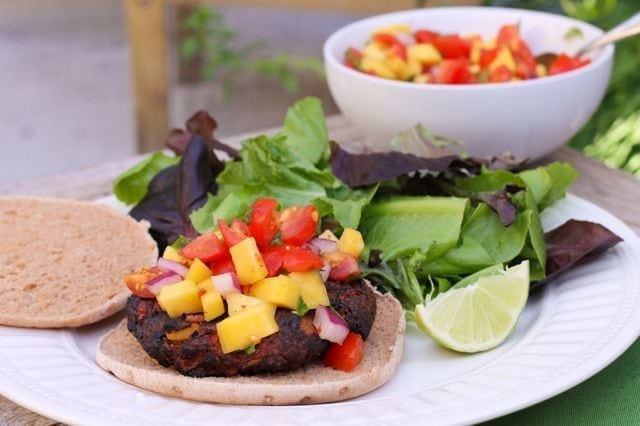 Jamaican Jerk Burgers with Mango Salsa - Eat Spin Run Repeat