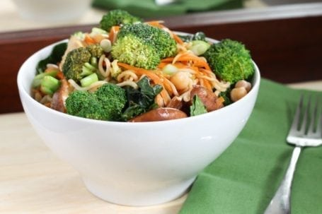 broccoli carrot and chickpea noodle bowl with gai lan 1