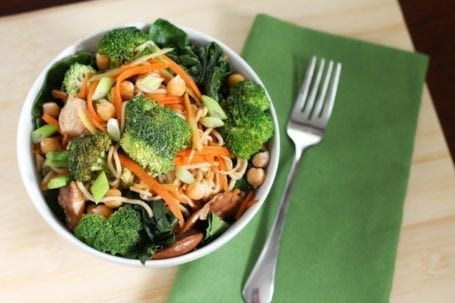 broccoli carrot and chickpea noodle bowl with gai lan