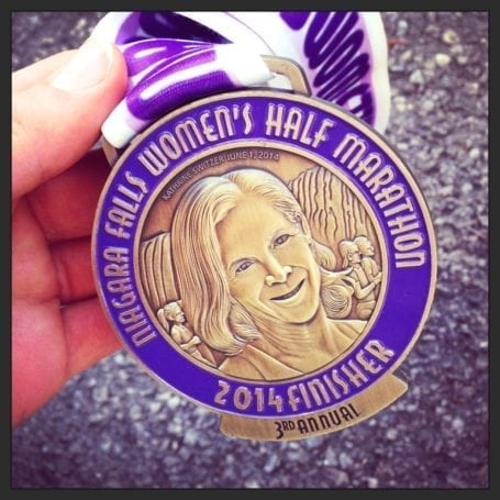 finisher medal for niagara falls womens half marathon