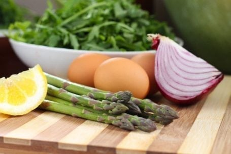 lemon asparagus eggs arugula and onion