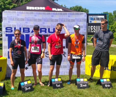 podium for guelph lake duathlon