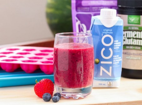 pureed fruit and zico coconut water