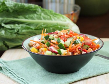 Garden Vegetable and Chickpea Salad - Eat Spin Run Repeat
