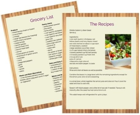 Sample Recipes - 5 day meal plan