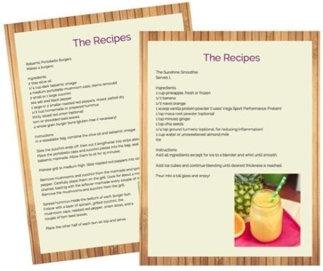 Sample Recipes from 3-day clean eating meal plan