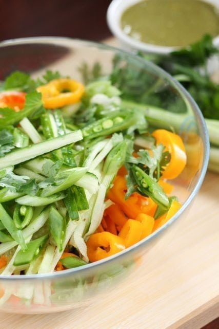 bowl of chopped veggies