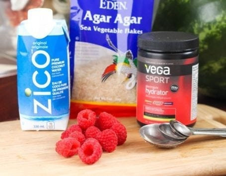 ingredients for Vegan Raspberry Electrolyte Gummies - Eat Spin Run Repeat