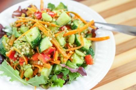 sorghum and edamame salad with cilantro dressing