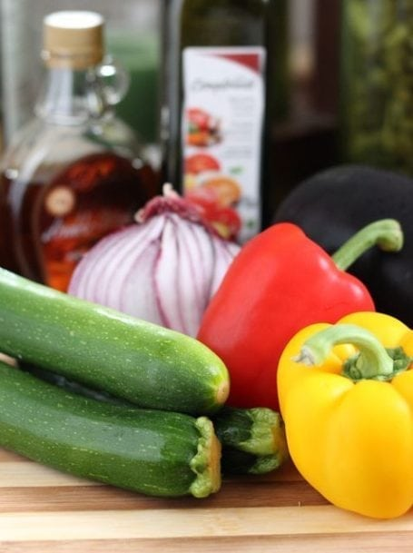 zucchini onion peppers and eggplant