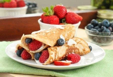 Gluten-Free Coconut Flour Crepes with Yogurt and Berries - Eat Spin Run Repeat