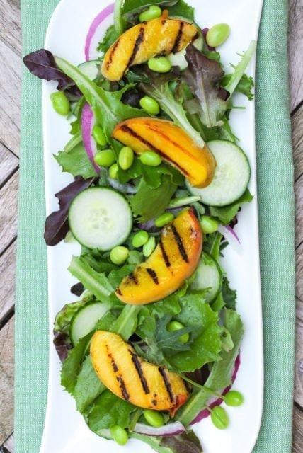 Grilled Peach and Edamame Salad - Eat Spin Run Repeat