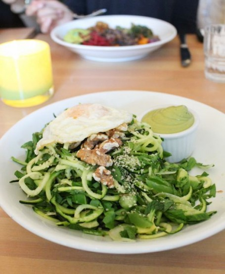 Heirloom - All Greens Salad with fried egg and walnuts