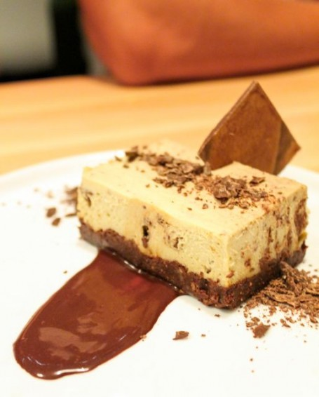 Chocolate mint cream cake with pecan crust