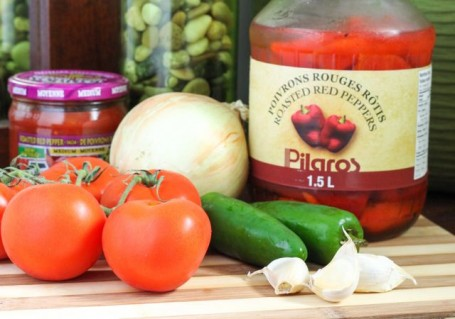 Ingredients for roasted red pepper salsa - Eat Spin Run Repeat