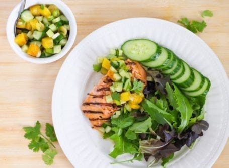 Sweet Grilled Salmon with Pineapple Salsa - Eat Spin Run Repeat