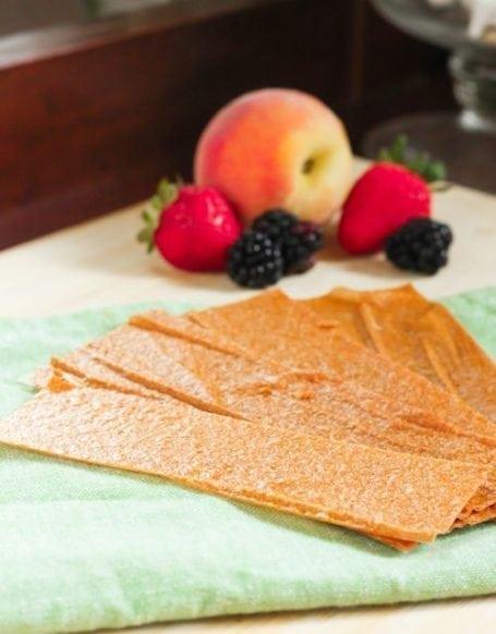 Vanilla Peach Fruit Roll Ups - Eat Spin Run Repeat
