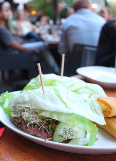 veggie burger wrapped in lettuce