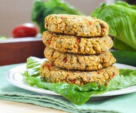 Roasted Red Pepper Chickpea Burgers - Eat Spin Run Repeat