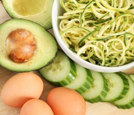 eggs avocado and zucchini noodles
