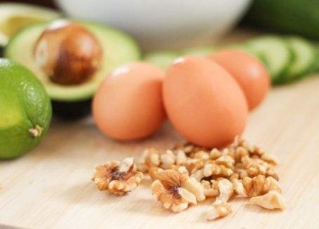 eggs, walnuts and avocado