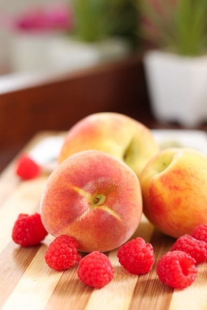peaches and raspberries