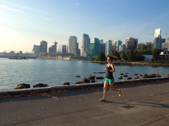 running along the sea wall in vancouver
