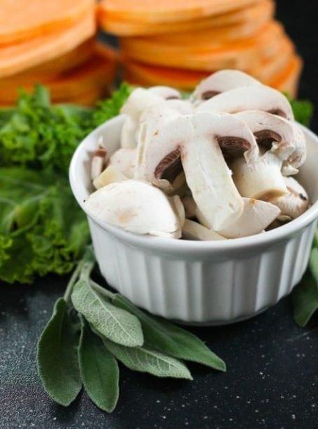 mushroom sage kale and sweet potatoes