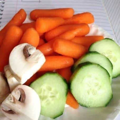 raw veggies at work