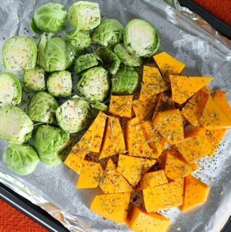roasting sprouts and squash