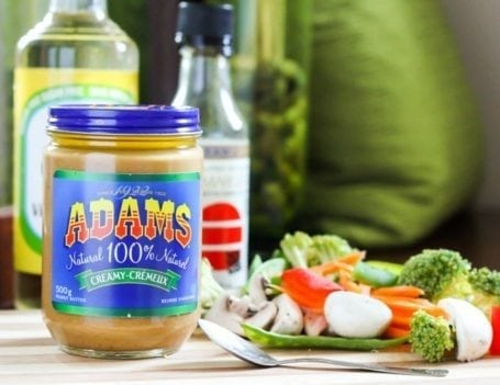 Adams peanut butter and raw veggies