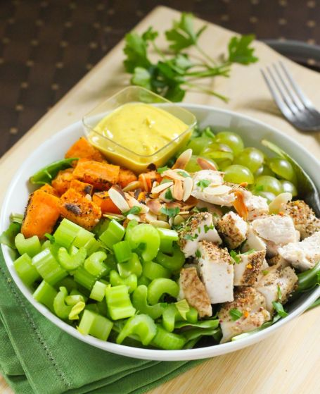 Autumn Chicken Salad with Curried Yogurt Dressing - Eat Spin Run Repeat