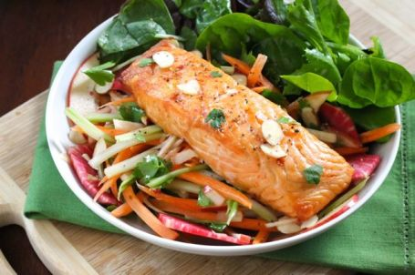 Baked Salmon with Apple-Radish Slaw - Eat Spin Run Repeat