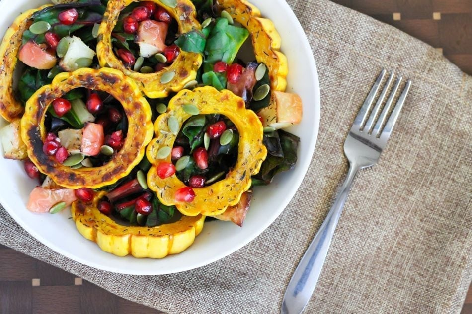 Roasted Apple and Squash Salad with Pomegranate Vinaigrette - Eat Spin Run Repeat