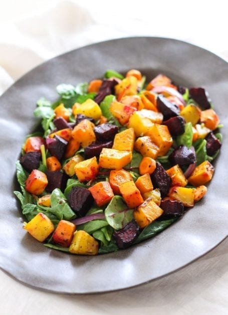 Roasted Root Salad with Maple Orange Balsamic Glaze - Eat Spin Run Repeat