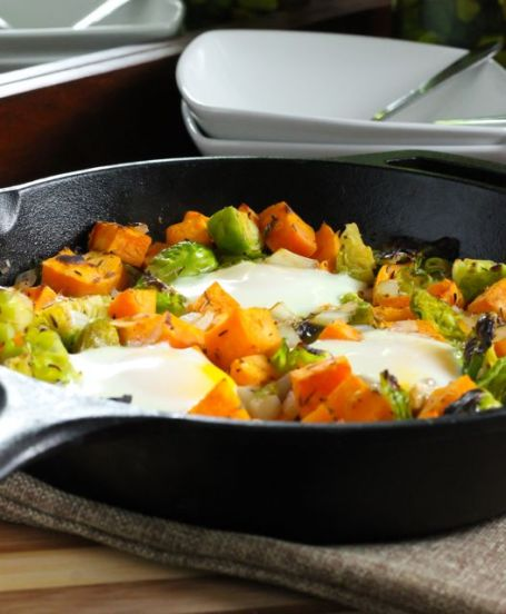 Sweet Potato and Brussels Sprout Hash - Eat Spin Run Repeat