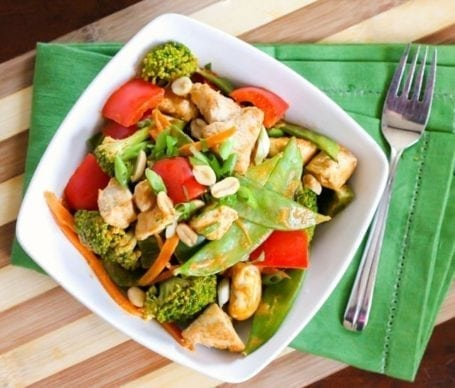 Thai Peanut Chicken Stir Fry - Eat Spin Run Repeat