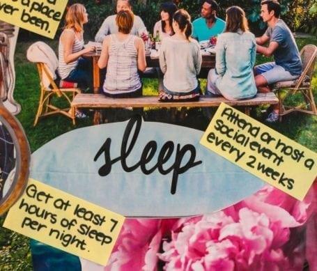 2015 Vision Board - Eat Spin Run Repeat - sleep/social goals