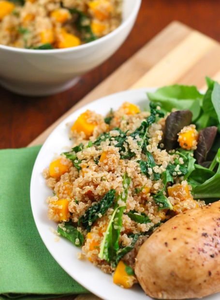 Maple Balsamic Chicken with Butternut Quinoa Pilaf - Eat Spin Run Repeat