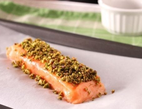 Pistachio Dill Crusted Salmon before cooking