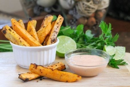 Sweet Potato Wedges with Chipotle Lime Yogurt Dip - Eat Spin Run Repeat