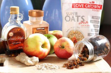 ingredients for healthy apple crisp