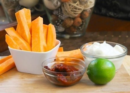 ingredients for sweet potato wedges with chipotle-lime yogurt dip