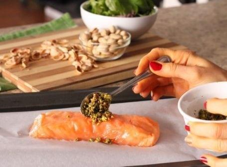 scooping crust onto salmon 1