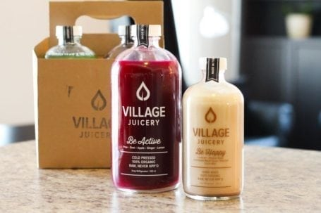 Be Active juice and Be Happy nut milk from The Village Juicery