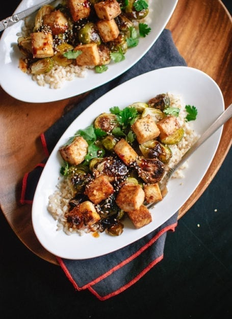 Cookie and Kate - Roasted Brussels Sprouts and Crispy Baked Tofu with Honey-Sesame Glaze