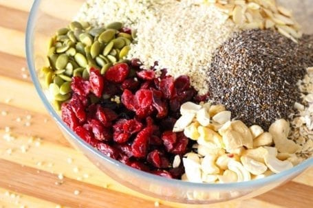 Ingredients for Super Seedy Cranberry Cashew Bars