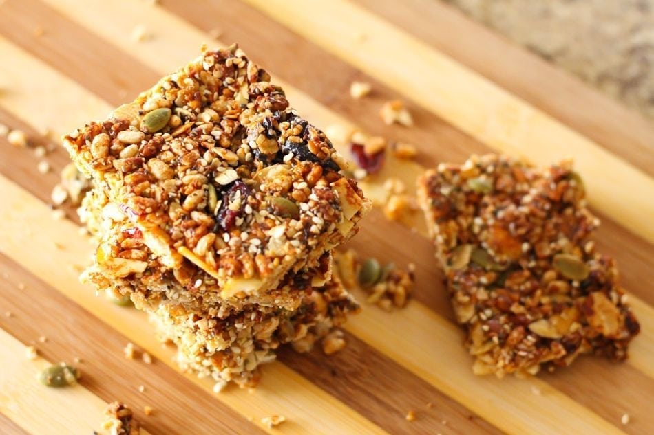 Super Seedy Cranberry Cashew Bars - Eat Spin Run Repeat