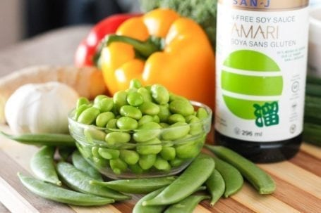 edamame and sugar snap peas with tamari
